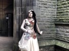Vineta wearing her creation at Todmorden Unitarian Church.